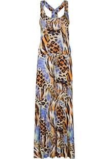 Vestido Estampa Digital Longo Blusado Canellado