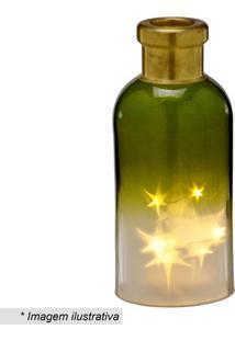 Garrafa Decorativa Com Luz- Incolor & Verde- 24,5Xã˜1Mabruk