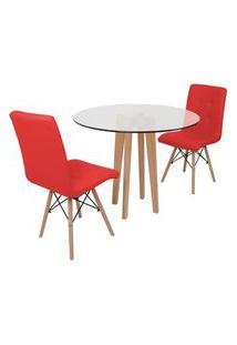 Conjunto Mesa De Jantar Em Vidro 90Cm Com Base Vértice + 2 Cadeiras Gomos - Vermelho
