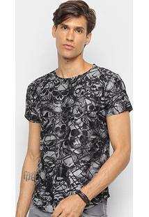 Camiseta Watkins & Krown Caveiras Masculina - Masculino-Preto