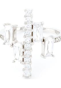 V Jewellery Anel 'Simplicity' De Prata Com Zircônia - Metálico