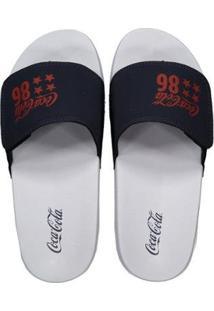 Chinelo Coca Cola Slide Velcro 86 Star - Masculino-Branco