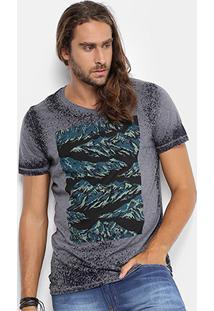Camiseta Colcci Gola V Devorê Estampada Masculina - Masculino