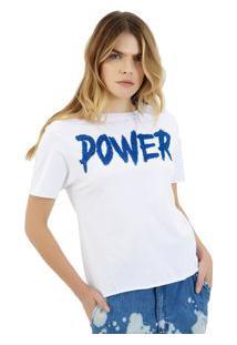 Camiseta Rosa Chá Power Malha Branco Feminina Camiseta Power-Branco-M