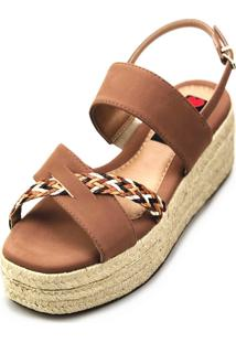 Avarca Espadrille Love Shoes Anabela Plataforma Corda Trança Marrom