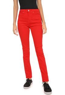 Calça Sarja Calvin Klein Jeans Skinny Lisa Vermelha