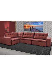 Sofa De Canto Retrátil E Reclinável Com Molas Cama Inbox Oklahoma 3,45X2,41 Ou 2,41X3,45 Vermelho