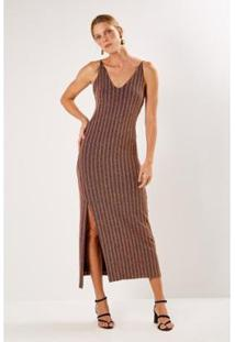 Vestido Sacada Malha Listra Lurex Feminino - Feminino-Vinho+Dourado