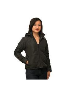 Jaqueta Feminina Plus Size Com Capuz Removível Com Manta Térmica Inverno (Enchimento Em Fibra) Preto