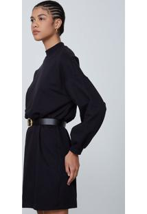 Vestido Moletom Curto Blusê Em Algodão - Preto