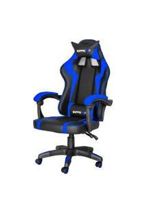 Cadeira Gamer Hudson Preta E Azul Base Rodizio 107Cm - 62582 Preta E Azul