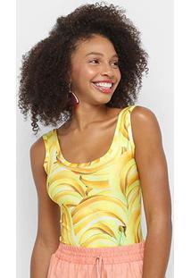 Body Naif Banana Feminina - Feminino-Amarelo