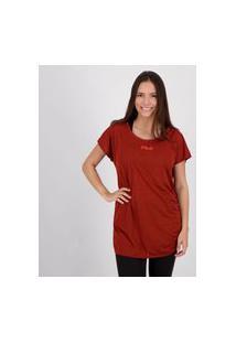 Camiseta Fila Drapped Ii Feminina Vermelha Mescla