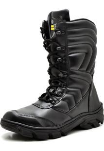 Bota Coturno Militar Top Franca Shoes Preto Fosco