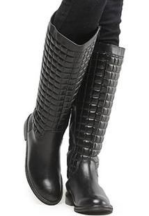 Bota Couro Montaria Shoestock Matelassê Feminina - Feminino-Preto