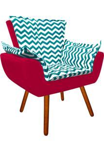 Poltrona Decorativa Opala Suede Composê Estampado Zig Zag Verde Tiffany D78 E Suede Vermelho - D'Rossi - Tricae
