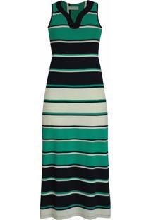 Vestido Pau A Pique Longo Listrado Verde