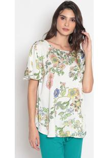 Blusa Floral - Off White & Verde- Cotton Colorscotton Colors Extra