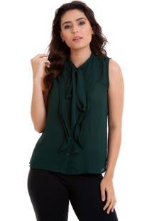 Camisa Regata Babados Laço Na Gola Kinara Feminina - Feminino-Verde