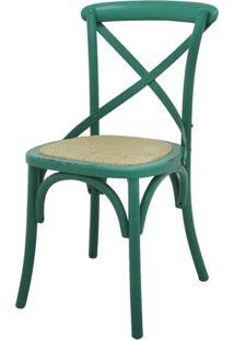 Cadeira Katrina Madeira Assento Em Rattan Cor Verde - 18879 - Sun House