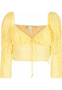 Nk Blusa Cropped De Renda - Amarelo