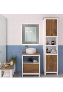 Armário Para Banheiro 2 Portas Torre Florida P E C Artemobili Branco/Garapa