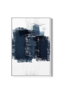 Quadro 60X40Cm Abstrato Textura Artea Moldura Flutuante Filete Branca