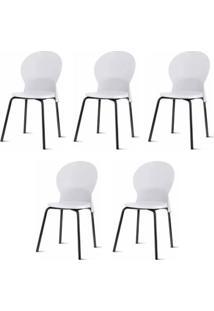 Kit 5 Cadeiras Luna Assento Branco Base Preta - 57698 - Sun House