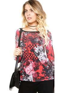 Blusa Ellus Floral Preta/Vermelho