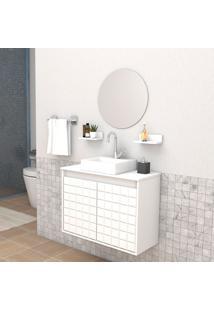 Conjunto De Banheiro Carol 2 Pt Branco 70 Cm