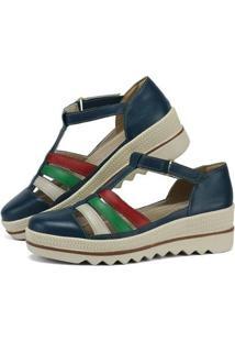 Sandália Plataforma Em Couro Sapatofran Com Velcro Feminina - Feminino-Marinho