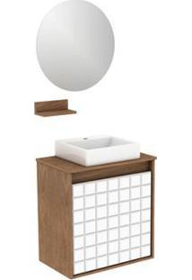 Gabinete Para Banheiro Com Lavatório E Espelheira Carol 50X30Cm Ébano Darabas