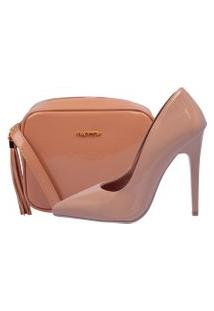 Kit Scarpin + Bolsa Factor Fashion Verniz Nude