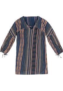Vestido Curto Estampado Em Tecido De Algodão Estilo Folk