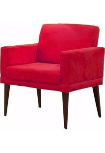 Poltrona Decorativa Para Sala E Escritório Emilia Suede Vermelho