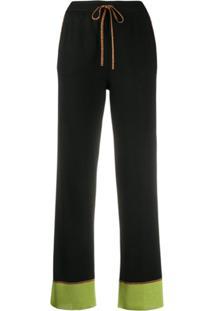 Missoni Drawstring Contrast Cuff Trousers - Preto