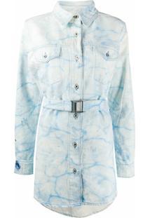 Off-White Vestido Jeans Com Efeito Desbotado - Azul