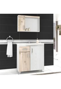 Gabinete Para Banheiro Com Espelheira Fit 80 Balcony Não Acompanha Torneira Artico/Cabernet