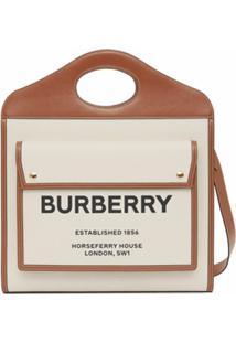 Burberry Bolsa Bicolor Média - Neutro