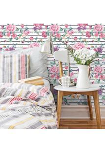 Papel De Parede Stickdecor Adesivo Floral Rosas Listrado 3Mt A 1,00Mt L