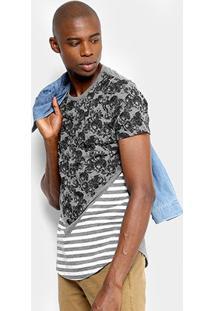 Camiseta Overcore Caveiras Listras Masculina - Masculino-Mescla