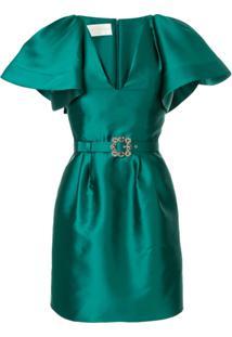 Alberta Ferretti Vestido Com Aplicação De Cristais - Verde