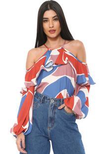 Blusa Enna Off Shoulders Off-White/Laranja