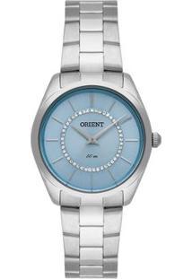 Relógio Orient Prateado Com Pedras Feminino - Feminino-Prata