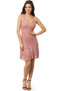 42b0862a8 ... Vestido Pink Tricot Curto Godê Alças Feminino - Feminino-Rosa Claro