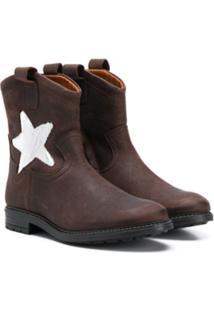 Pépé Kids Star Print Ankle Boots - Marrom