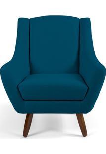 Poltrona Decorativa Sala De Estar Pés De Madeira Naomi Veludo Azul Cobalto - Gran Belo