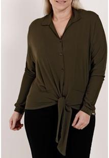 Camisa Manga Longa Plus Size Feminina Autentique Verde