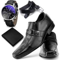 3bc80da8de Sapato Social Top Flex Cinto Carteira E Relógio 600L Preto