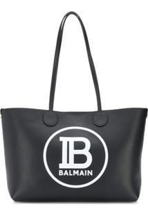 Balmain Bolsa Tote Com Estampa De Logo - Preto